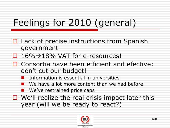 Feelings for 2010 (general)