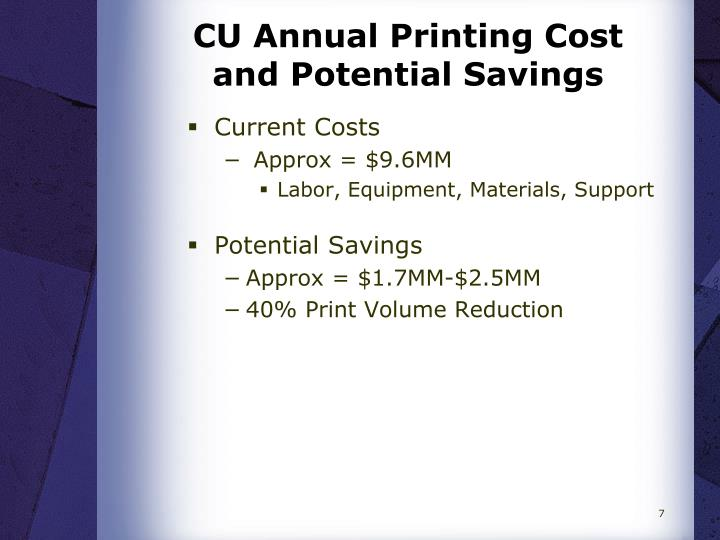 CU Annual Printing Cost and Potential Savings