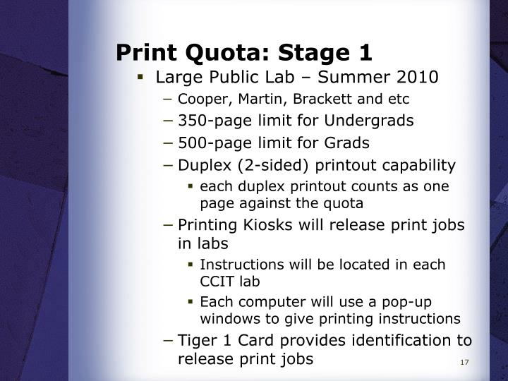 Print Quota: Stage 1