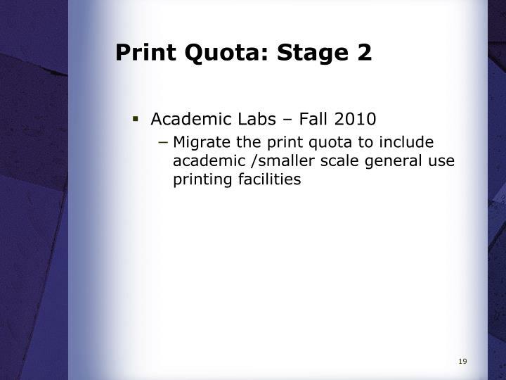 Print Quota: Stage 2