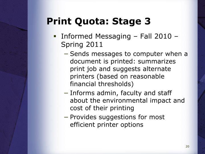 Print Quota: Stage 3
