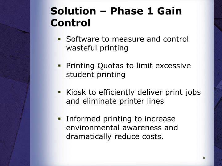 Solution – Phase 1 Gain Control