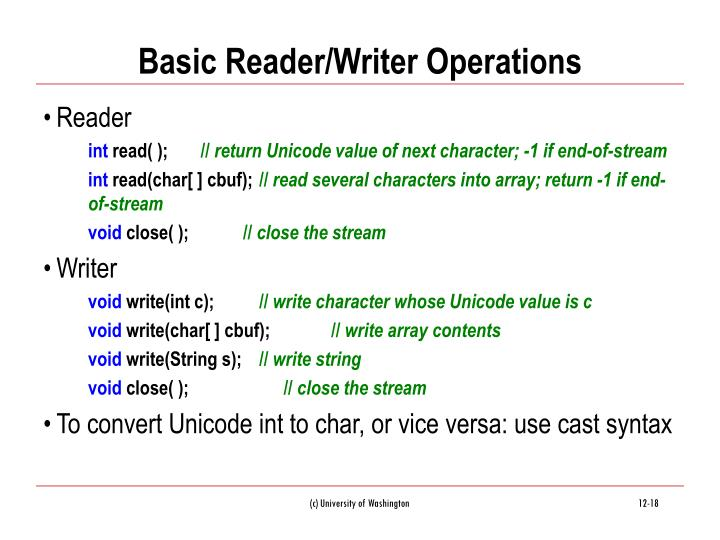 Basic Reader/Writer Operations