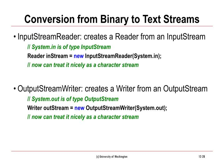 Conversion from Binary to Text Streams