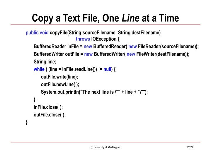 Copy a Text File, One