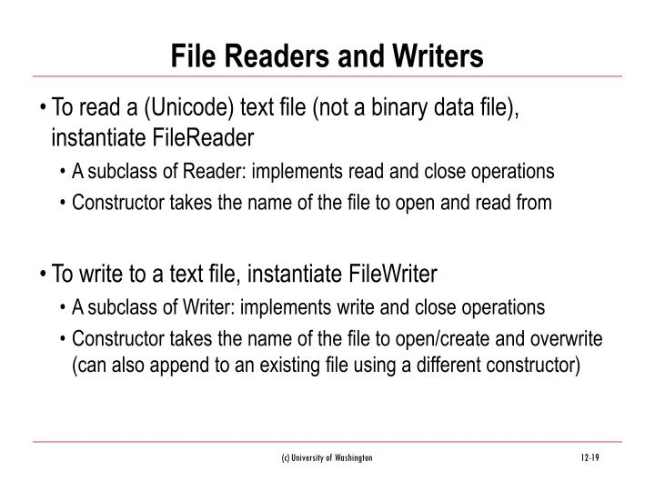 File Readers and Writers