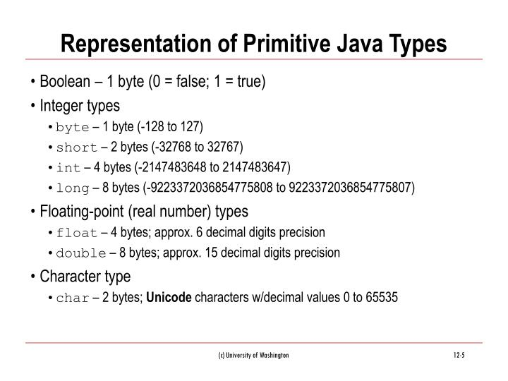 Representation of Primitive Java Types
