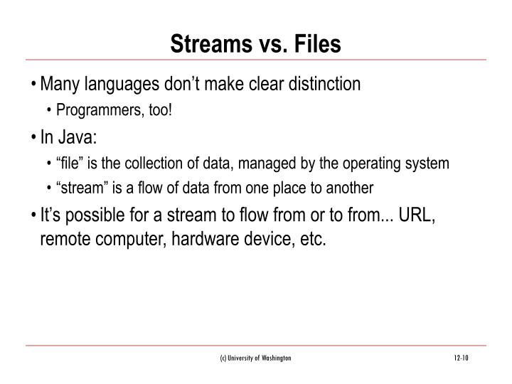 Streams vs. Files