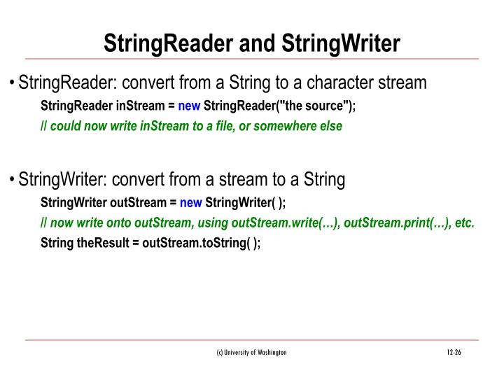 StringReader and StringWriter
