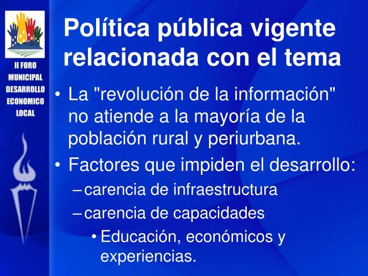 Política pública vigente