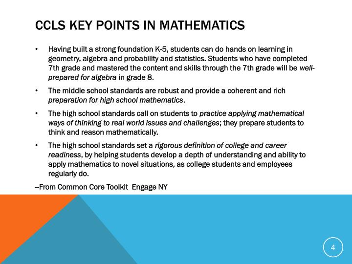 CCLS Key Points in Mathematics