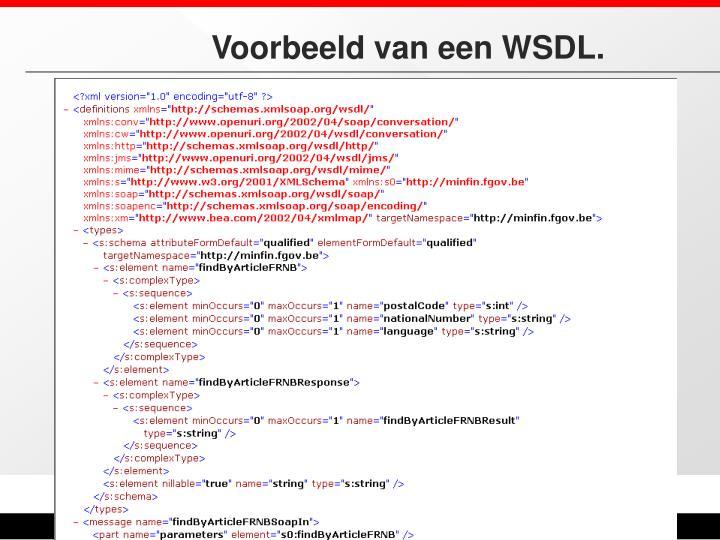 Voorbeeld van een WSDL.