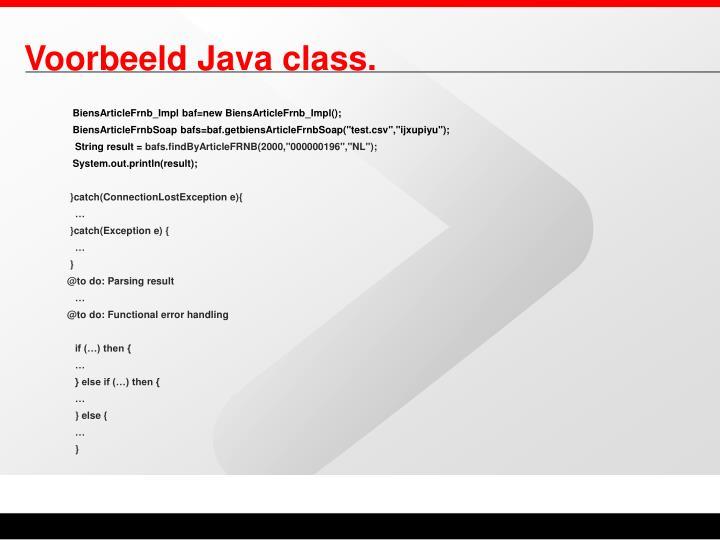 Voorbeeld Java class.