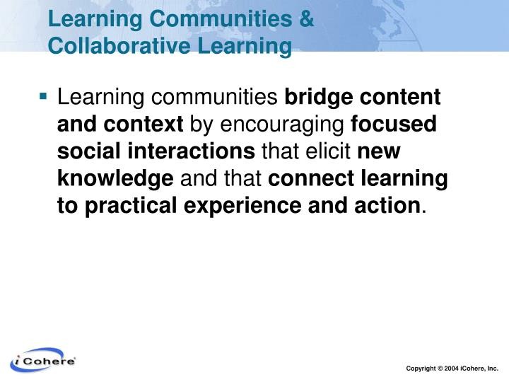 Learning Communities & Collaborative Learning