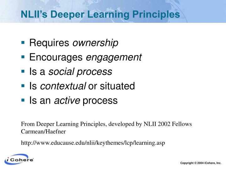 NLII's Deeper Learning Principles