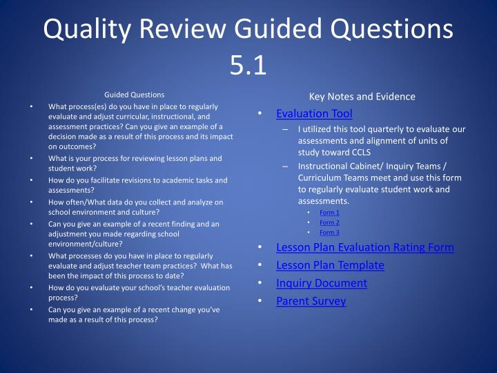Quality Review Guided Questions