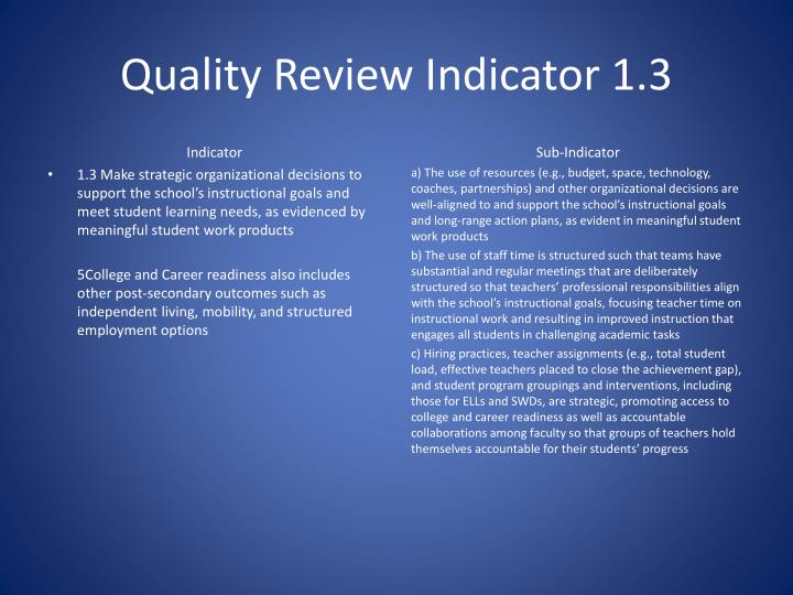 Quality Review Indicator 1.3