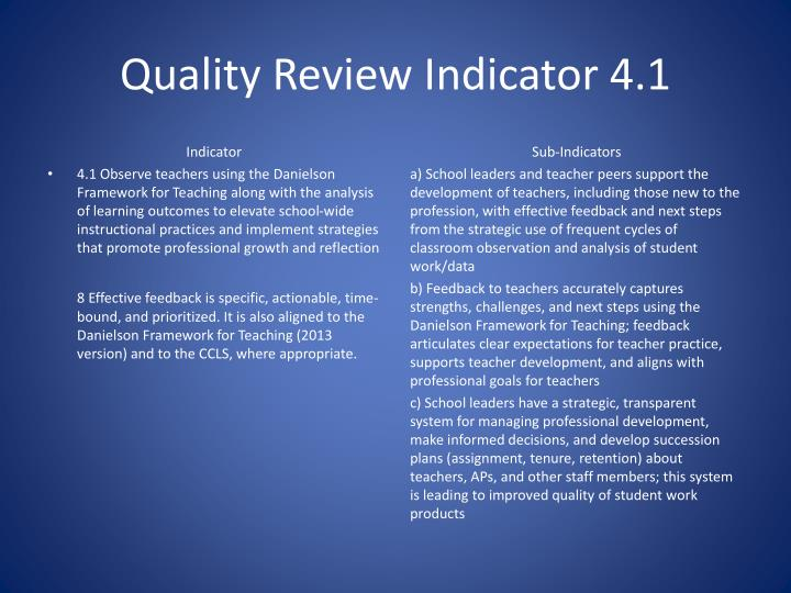 Quality Review Indicator 4.1