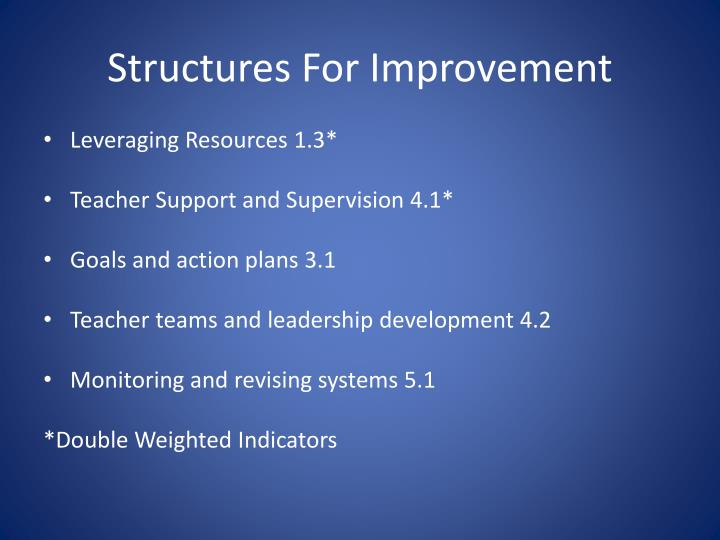Structures For Improvement