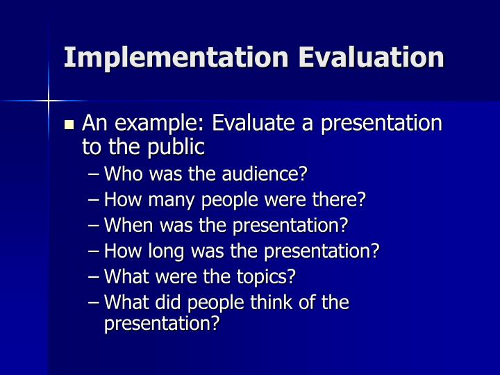 Implementation Evaluation