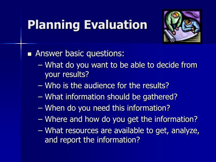 Planning Evaluation