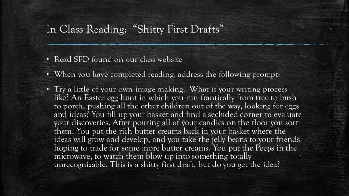 "In Class Reading:  ""Shitty First Drafts"""