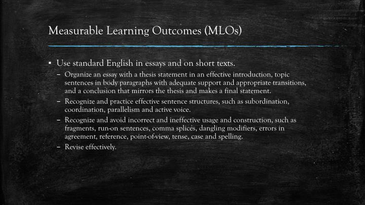 Measurable Learning Outcomes (MLOs)
