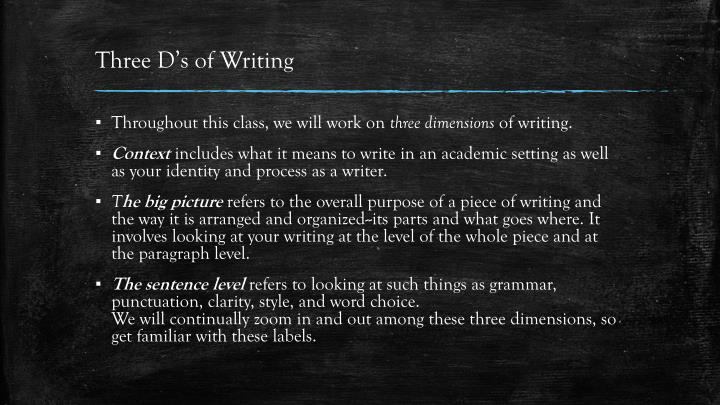 Three D's of Writing