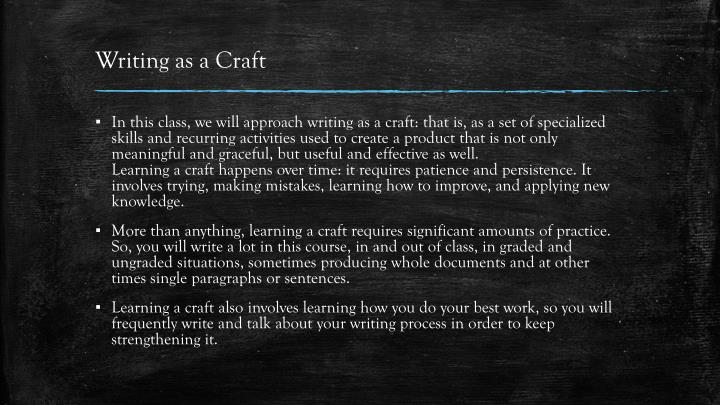 Writing as a Craft