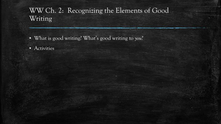 WW Ch. 2:  Recognizing the Elements of Good Writing