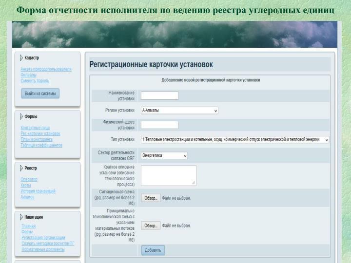 Форма отчетности исполнителя по ведению реестра углеродных единиц