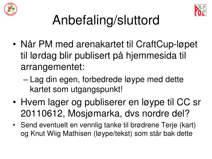 Anbefaling/sluttord