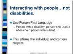interacting with people not disabilities