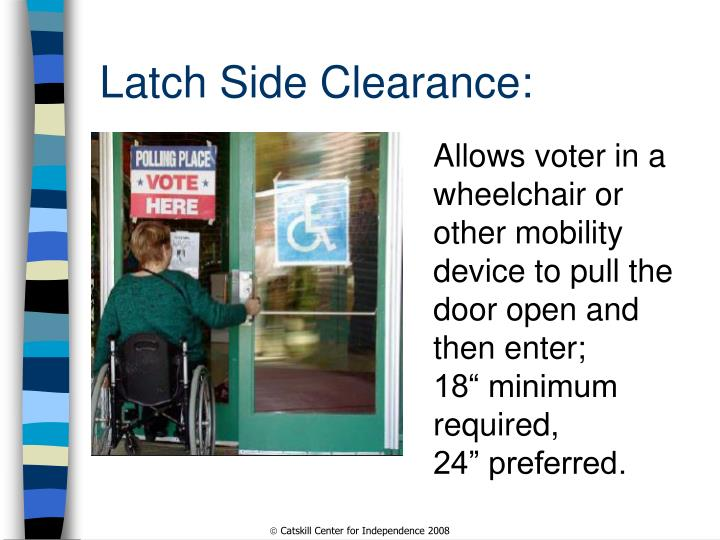 Latch Side Clearance: