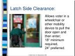 latch side clearance