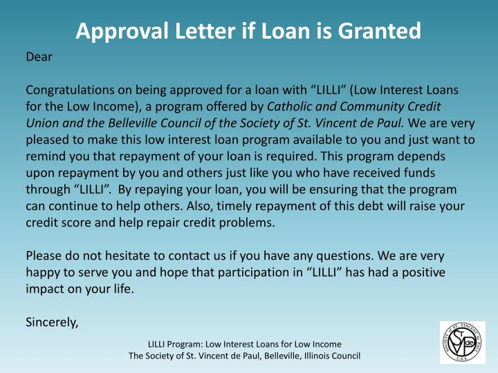 Approval Letter if Loan is Granted