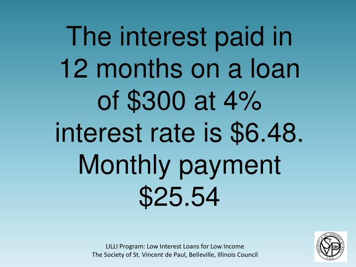 The interest paid in 12 months on a loan of $300 at 4% interest rate is $6.48.