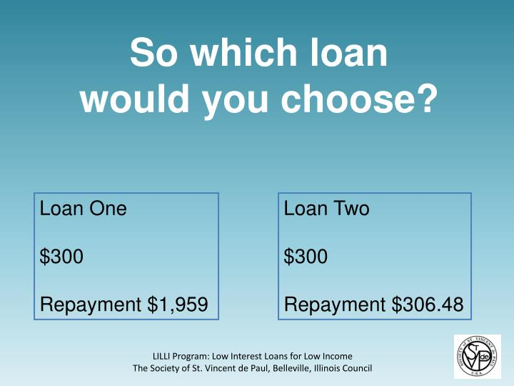 So which loan would you choose?