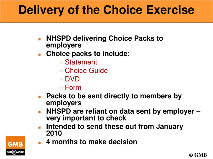 Delivery of the Choice Exercise