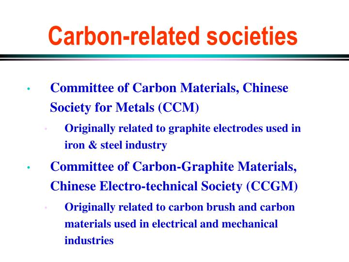 Carbon related societies