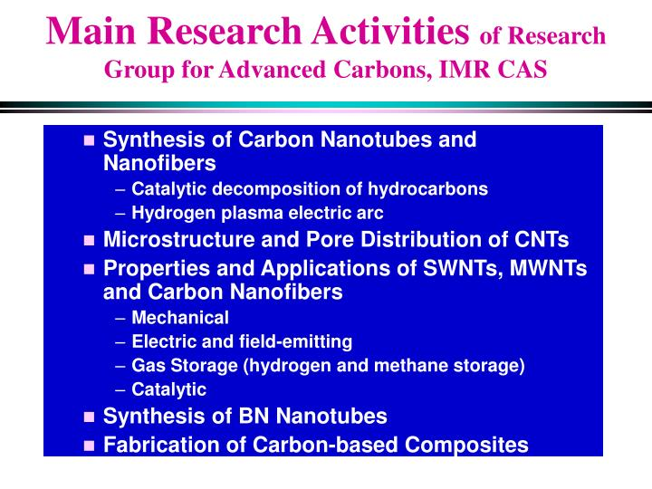 Main Research Activities