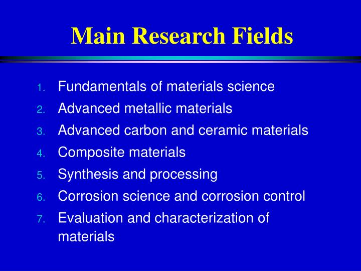 Main Research Fields