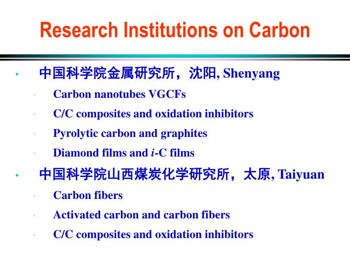 Research Institutions on Carbon