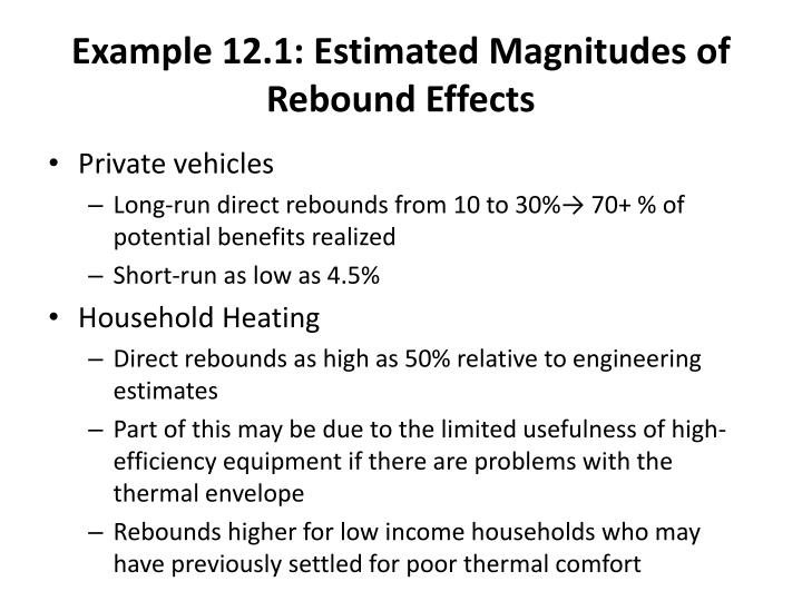 Example 12.1: Estimated Magnitudes of Rebound Effects