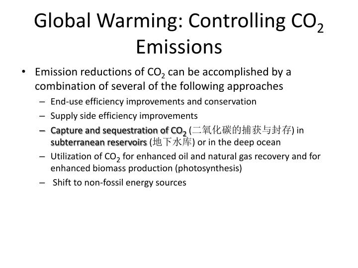 Global warming controlling co 2 emissions