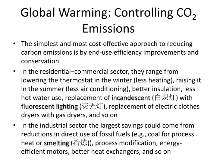 Global warming controlling co 2 emissions1