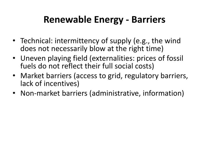 Renewable Energy - Barriers