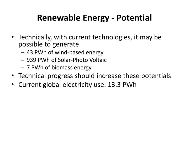 Renewable Energy - Potential