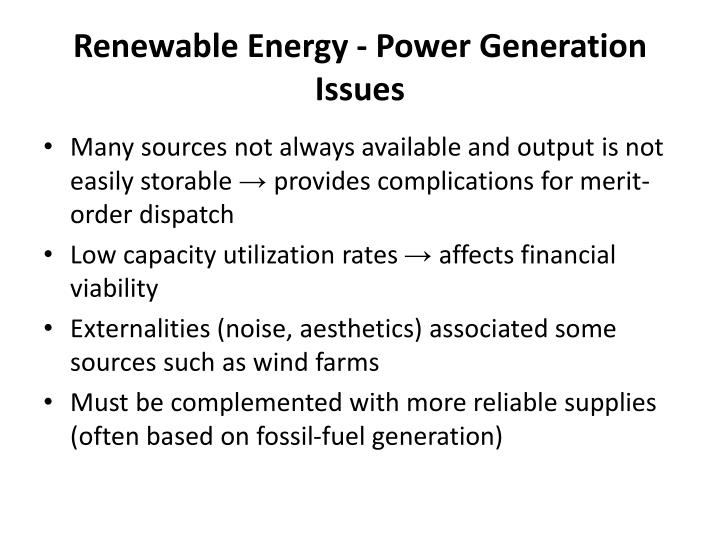 Renewable Energy - Power Generation Issues