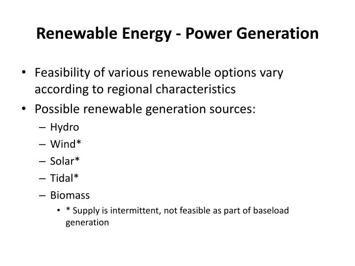 Renewable Energy - Power Generation